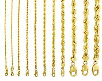 "18K Yellow Gold Solid 2mm-7mm Rope Diamond Cut Chain Pendant Necklace 16""- 30"""