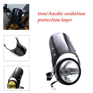 """Motorcycle Black PC Windshield Windscreen Kit Fitting for 5""""&7""""Round Headlights"""