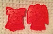 Pair Of Plastic Christmas Cookie Cutters - Angel & Bell