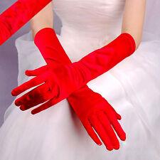 Paire de gants longs satin pour mariage : LONG 40 cm - coloris rouge