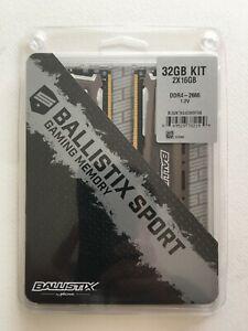 Ballistix Sport 32GB(2X16GB) DDR4 2666 Memory Set (Gray) BLS2K16G4D26BFSB
