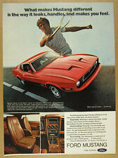 1973 Ford Mustang Mach I red car 3x photo vintage print Ad