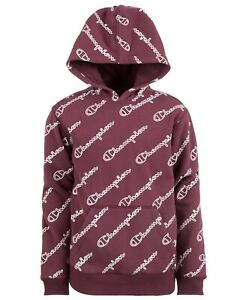 Champion Boys Sweatshirt Hoodie All Over Script Logo Athletics Youth - L 14/16