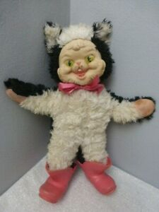 """Rare Vintage Rushton Toy Doll Puss and Boots Well Loved and Then Some....14.5"""""""