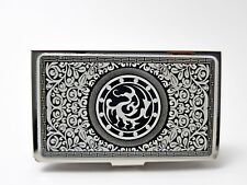 Business Card Case Holder Mother of Pearl Tripedal Legend Crow Korean Classic