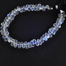 77.4CT Rainbow Moonstone Faceted Teardrop Briolette Bead 8 inch strand