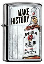 ZIPPO Feuerzeug JIM BEAM - MAKE HISTORY Brushed Chrome Flasche Whiskey NEU OVP