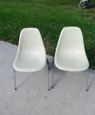 EAMES HERMAN MILLER FIBERGLASS PARCHMENT SHELL STACKING CHAIRS 2 - MID CENTURY