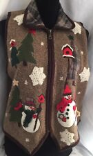 Victoria Jones Ugly PM petite Christmas Sweater Vest holiday Holiday Rare Trees