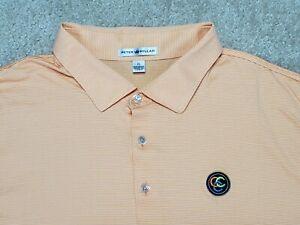 Coral Creek Club Peter Millar Golf Polo Shirt Orange White Striped Men's XL