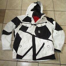 Mens SPYDER Zip SNOWBOARD SKI SNOW JACKET Durable! HOODED  Black White SZ L