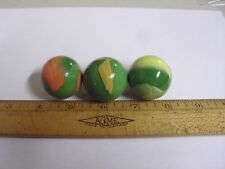 SET OF 3 LARGE MARBLES 1 3/8 INCHES WIDE GREEN YELLOW ORANGE