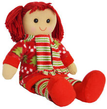 Christmas Rag Doll by Powell Craft Warm Festive Red Dress & Scarf Large 40cm