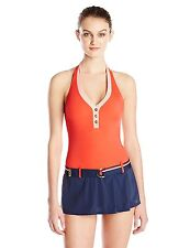 New $130 Tommy Hilfiger Colorblock Belted One-Piece Swimdress,Red & Navy Size 6