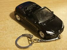 Diecast Peugeot 206CC Black Toy Car Keyring Keychain RECORDED DELIVERY