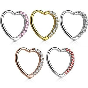 CZ GEM LINED HEART SHAPED DAITH CARTILAGE PIERCING RING 16G HOOP LEFT/RIGHT EAR