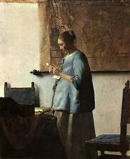 Briefleserin in Blau Vermeer Schwanger Frisur Liebe Geheimnis Bütten H A3 0285