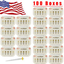 100 Boxes USA Dental Fiber Post Resin Screw Thread Quartz &100-Drills Yellow YX5