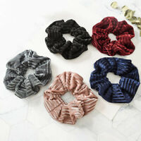 Matte Stripe Velvet Scrunchie Ponytail Holder Wrap Elastic Hair Band Accessories