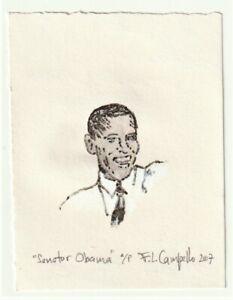 Senator Barack Obama Vintage 2007 signed Lithograph by WHO's WHO listed artist!