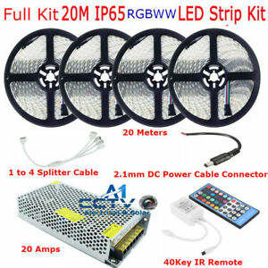 RGBWW / RGBW 5050 IP65 Waterproof LED + 40Key Remote 12V Power Transformer Unit