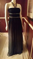 **NEW* ADRIANNE PEPELL BLACK GRAY EMBELLISHED EVENT GOWN MAXI DRESS Sz14 Rt $298