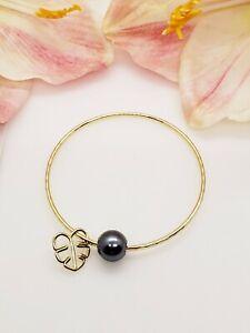 Black Pearl Monstera Leaf Charm Bangle Bracelet