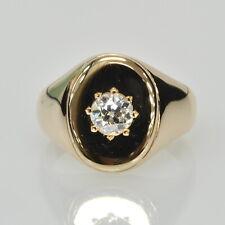 Vintage Antique 10k Yellow Gold 3/8Ct European Cut Diamond Solitaire Gents Ring