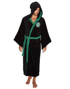 Harry Potter Slytherin House Men's Hooded Black Bathrobe