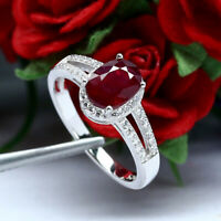 NATURAL 6 X 8 mm. OVAL RED RUBY & WHITE CZ RING 925 STERLING SILVER SZ 7