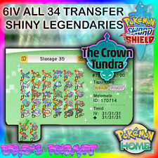 Pokemon SWORD and SHIELD Crown Tundra DLC ALL 34 NEW 6IV SHINY LEGENDS Transfer