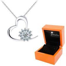 925 Silber Herz Heart Liebe Zirkonia Anhänger mit Kette Halskette + LED Holzbox