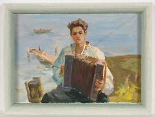 "Mikola Chulko (b.1947), ""Concertina Player"", Oil Painting, 1970s"