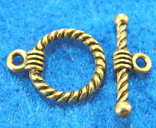 50Sets WHOLESALE Tibetan Antique Gold Twist ROUND Toggle Clasps Hooks Q0584