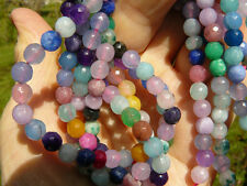 "Multi-colored Agate Beads 6MM faceted round 15"" strand blue pink green etc"