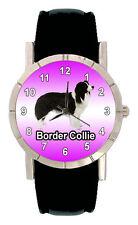 Border Collie Puppy Dog Mens Ladies Genuine Leather Quartz Wrist Watch SA1151