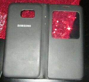 Original Samsung S-View Cover Schutz Hülle EF-CG935 für Galaxy S7 Edge Schwarz