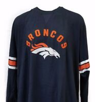 Denver Broncos Mens NFL Majestic Navy Big and Tall Long Sleeve Jersey Shirt, nwt