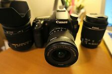 Canon EOS 70D SLR Camera with 10-18mm, 18-55mm, sigma 18-250mm + 3 Batteries