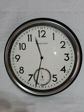 Sterling & Noble Wall Clock Stainless & Black Finish MFG #9 Used lot#1498