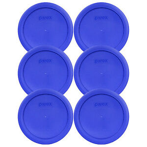 """Pyrex 7201-PC 6"""" Cobalt Blue 6 Pack Plastic Cover Lid New for 4 Cup Glass Bowl"""