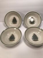 4 STONEWARE CHRISTMAS TREE HOLIDAY DESIGN CEREAL BOWLS  6 3/4'' GREEN STRIPE RIM