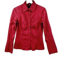 CUE in the City Women's Size 10 Maroon Pin Striped Long Sleeve Blouse Top