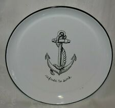 """White Enameled 14"""" Anchor Nautical Serving Tray Refuse to Sink Serving Tray"""