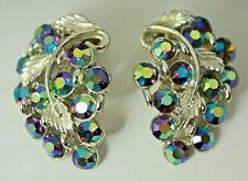 Stunning Vintage B.S.K. Signed AB Crystals Earrings Clip-on