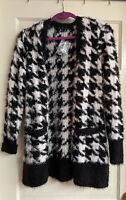 Isaac Mizrahi Live Black and White Cardigan Sweater, Women's Size Medium