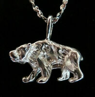 * BEAR * Silver Charm Pendants + + + FREE Silver Chain * Made in The USA *