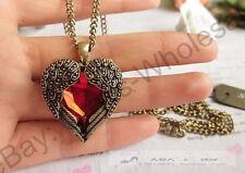 Wholesale 1Pcs Vintage Red Rhinestone Wing Heart Necklace Coat Chain & Pendants