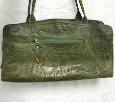 LEADERS IN LEATHER Green Leather Handbag Bag Clutch Purse Tooled Floral Leaf