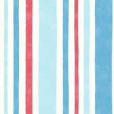 CAROUSEL WIDE STRIPE WALLPAPER BLUE / RED FINE DECOR DL21141